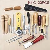 YUIOP Costura del Cuero DIY Artesanía Kit, Costura de la Mano Costura Sacador Trabajo de Tallado de Una Silla Groover Set Accesorios de Bricolaje (Color : Kit C 20pcs)