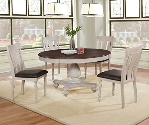 Roundhill Furniture Arch Solid Wood Dining Set: Round Table, Four Chairs, Distressed White and Dark Oak