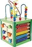 small foot 5886 Cube de motricité 'Printemps'  en bois, jouet pour bébé avec quatre surfaces de jeu et boucles de motricité,...