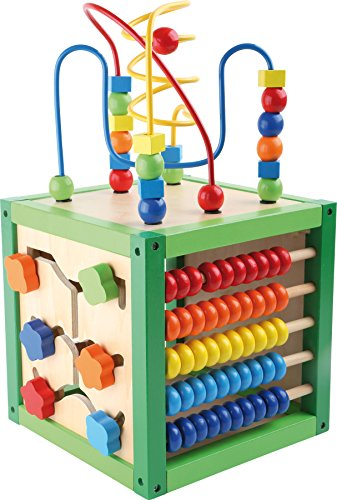 """5886 Dado motricità """"Primavera"""" small foot in legno, giocattolo per bambini con quattro superfici di gioco e percorsi motricità, da 1 anno"""