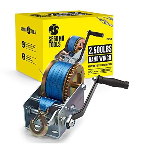 Segomo Tools Heavy Duty 2500 Pound Manual, Two Way Ratchet 32.2 Foot Long Nylon Strap Hand Winch - HW2500