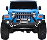 LEDKINGDOMUS Rock Crawler Front Bumper Compatible for 87-06 Jeep Wrangler YJ and TJ with Winch Plate, LED Lights Heavy Duty (Textured Black)