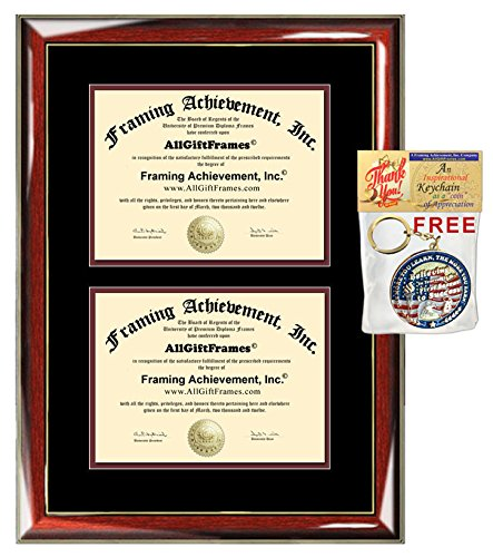Double Dual College Diploma Frame University Certificate Framing Wood Glossy Prestige Mahogany Gold Accents Top matted Black Inner mat Maroon Two Document Frames