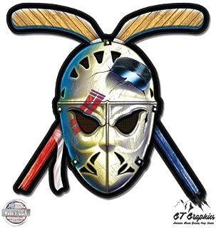 GT Graphics Hockey Mask Crossed Sticks Retro Vintage Style - Vinyl Sticker Waterproof Decal