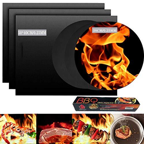 Mgee BBQ Grillmatte, 0.25MM Grillmatte 50X40CM & 38CM, Barbecue Grill Matte Backmatte Wiederverwendbar Benutzt fürGrill, Elektronischen Grill, Backofen (6 PCS)