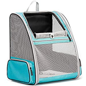 Fully Ventilation Cat Carrier Backpack, Dog Carrier Backpack for Small Puppy, Fits up to 16 pounds of Large Cats, Airline Approved Travel and Hiking Pet Backpack