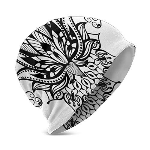Kids Soft Slouchy Beanie Baggy Skull Hat,Lotus Flower Tattoo Art Doodle Purity Meditation Flourish Illustration,Unisex Teen Various Knit Cap Styles