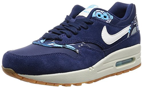 Nike Damen Air Max 1 Print Sneaker, Blau (Midnight Navy/Sl-Midnight Navy-Td Pl Blue), 40 EU