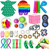 30 Pack Sensory Fidget Toys Set - Stress Relief and Anti Anxiety Push Pop Bubble Fidget Toys Cheap for Kids and Adults with Autism - Yoda Squeeze Hand Toys - Gifts for Birthday/Classroom Reward
