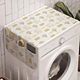 Ambesonne Sheep Washing Machine Organizer, Sheep Characters with Checkered Patterns Little Trees Fences Rural Farm Life, Anti-slip Fabric Cover for Washers and Dryers, 47' x 18.5', White Khaki