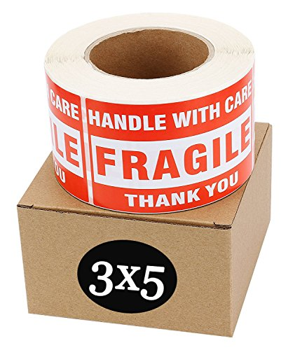 SJPACK Fragile Stickers 3'' x 5'' 1 Roll 500 Labels Fragile - Handle with Care - Thank You Shipping Labels Stickers (500 Labels/Roll)