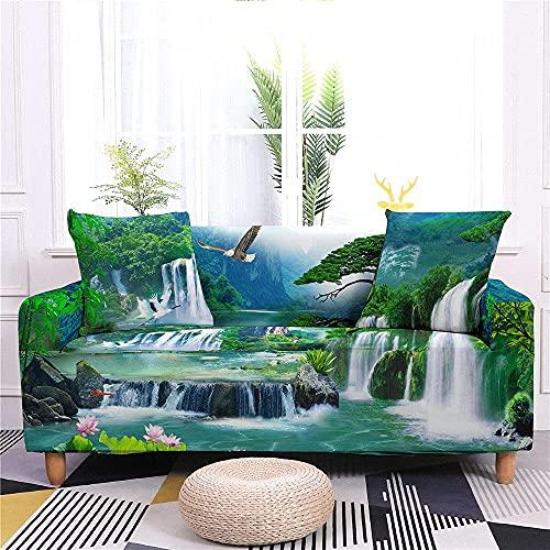 Funda para sofá con 3 cojines para sofá, fundas para sofá, fundas para sofá elásticas de paisaje natural, cascada de bosque verde con 2 fundas de almohada, sillón, sofá de dos plazas, protec