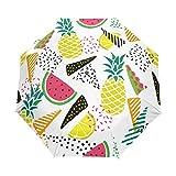 Sandía De Piña Paraguas Plegable con Apertura y Cierre Automático Antiviento Protección UV Ligero Viajes Paraguas paraPlaya Mujeres Niños Niñas