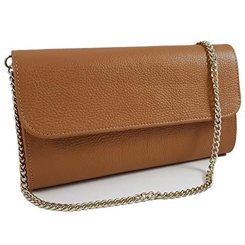 Freyday Echtleder Damen Clutch Tasche Abendtasche Muster Metallic 25x15cm (Cognac)