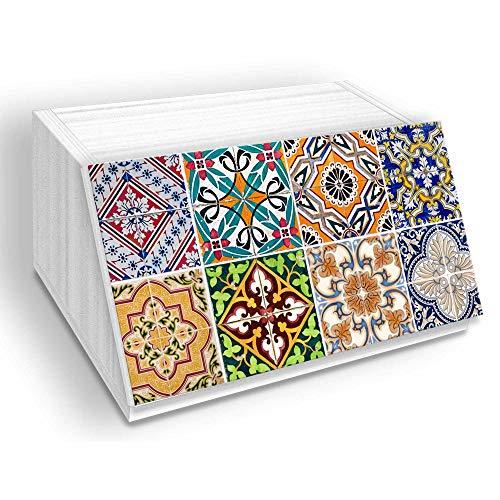 Accessori per la Cucina Linea WHITE TILES multiuso in fibra di legno, organizer per utensili, salvaspazio Portapane NEW decorato 30x40 H20 cm