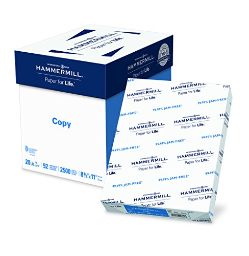Hammermill 20lb Copy Paper, 8.5 x 11, 5 Ream Case, 2,500 Sheets, Made in USA, Sustainably Sourced From American Family Tree Farms, 92 Bright, Acid Free, Economical Multipurpose Printer Paper, 113600C