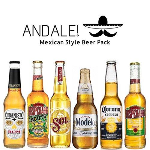 Andale! Pack de Cervezas Mexicanas - Cervezas de Mexico (Mejico) - Desperados Mojito, Desperados, Cerveza Modelo, Cerveza Cubanisto, Cerveza Sol, Cerveza Corona (Coronita)