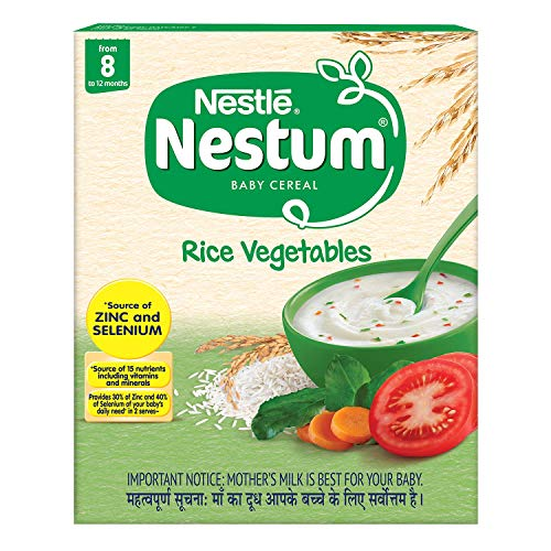 Nestlé NESTUM Baby Cereal – From 8 to 12 months, Rice Vegetables, 300g Bag-in-Box Pack