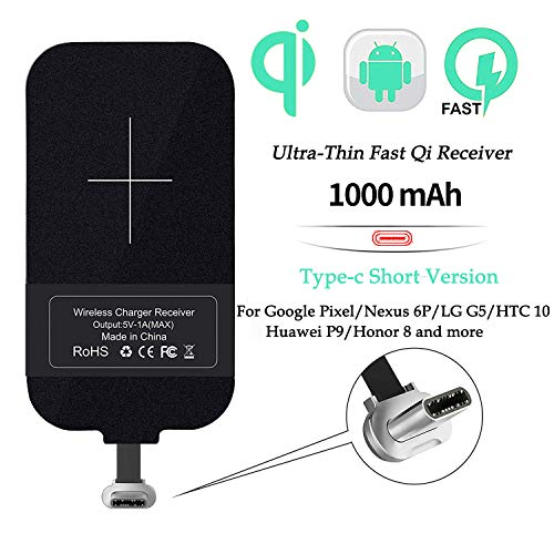 Nillkin Qi Receiver USB C, Thin Wireless Charging Receiver, Type C Wireless Charger Receiver for Galaxy A40/A20E, Pixel 2 and Other Type-C Android Cell Phones(Short Version)