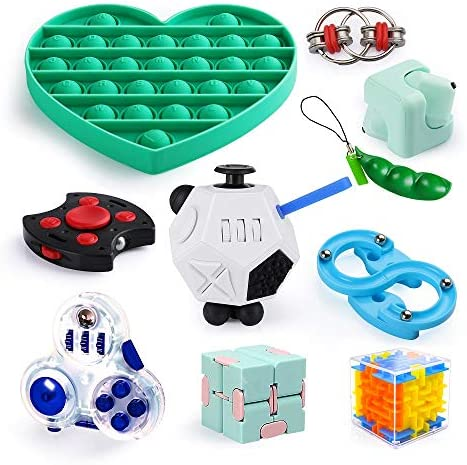 Sensory Fidget Toys Set for Kids Adults 10 Pack Anxiety Relief Toys with Fidget Cube Push Pop product image