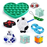 Sensory Fidget Toys Set for Kids Adults 10 Pack, Anxiety Relief Toys with Fidget Cube Push Pop Bubble Toy, Pop It Tangle Fidget Toys Spinner for ADHD ADD Autism