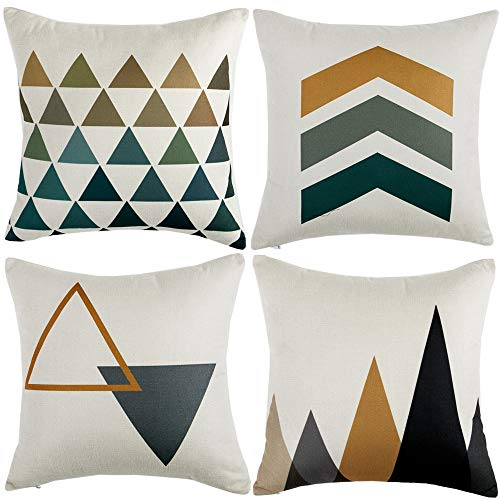 WLNUI Set of 4 Pillow Covers,18x18 Pillow Covers with Yellow/Gray Arrows Modern Simple Geom…