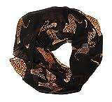 bufanda infinita sin fin manguera redonda bufanda de senora ligera leopardo zebra salvaje animal negro marron