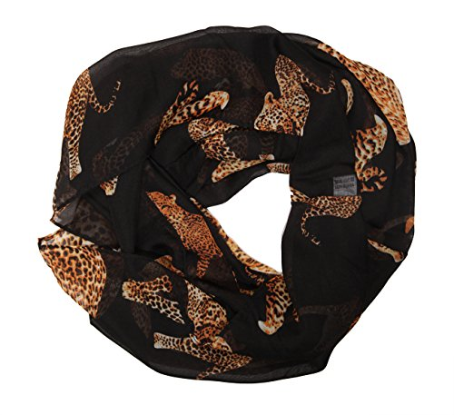 MANUMAR Loop-Schal für Damen | Hals-Tuch in Schwarz Braun mit Animal Print Motiv als perfektes Herbst Winter Accessoire | Schlauch Damen-Schal | Rundschal | Geschenkidee für Frauen und Mädchen
