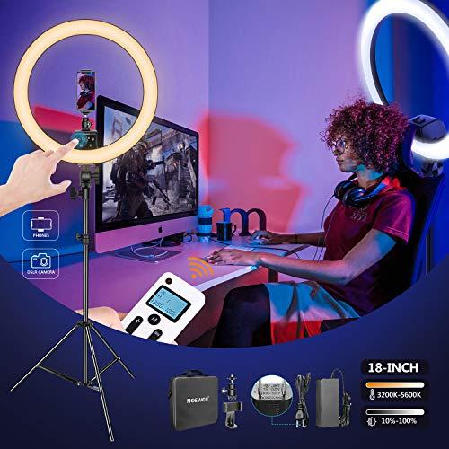 Neewer アップグレード18インチLEDリングライト サポート手動タッチ制御 3200から5600K LCDスクリーン マルチライトコントロール ライトスタンド付属 メイクアップ、YouTubeビデオ制作、ポートレート撮影対応(黒)