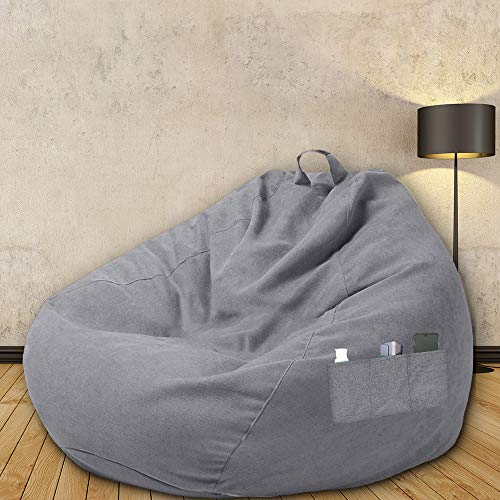 DIY Sitzsackbezug Sitzsack mit Griff und Seitentaschen Sitzsackbezug Faltbarer Lazy Bag Bezug für Zuhause, Wohnzimmer, Ohne Füllstoff (Grau80X90cm)