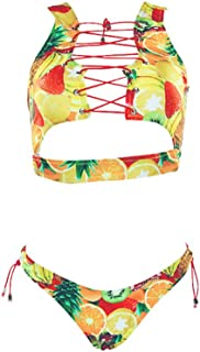 Baolifeng Women's 2 Pieces Retro Antigua Floral African Print Swimsuit Lace up Sexy Thong Bikini Set (FBA) (S(US 4-6), Tropical Fruit)