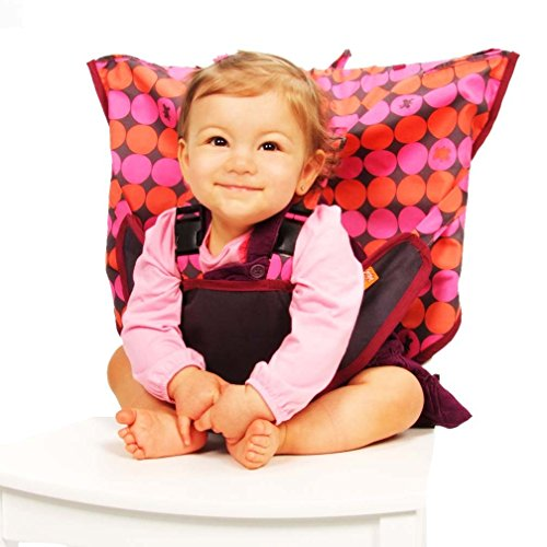 MY LITTLE SEAT Travel High Chair - Pinky Buttons - The Original Portable High Chair For Travel - Travel High Chairs For Babies And Toddlers - Baby Seats For Sitting Up - Travel High Chair