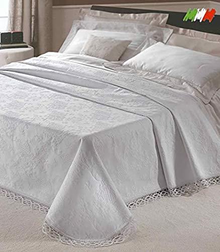 Smartsupershop Copriletto Matrimoniale King Broccato - Elegante e Raffinato - Pizzo sui Tre Lati - Prodotto di qualità Made in Italy Colore Bianco