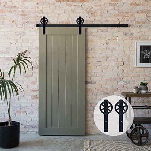 243cm/8FT Vintage Spoke Industrial Rad Schiebetür Barn Holz Innen Tür Schiebetürbeschlag Set Schiebetürsystem/sliding barn door hardware