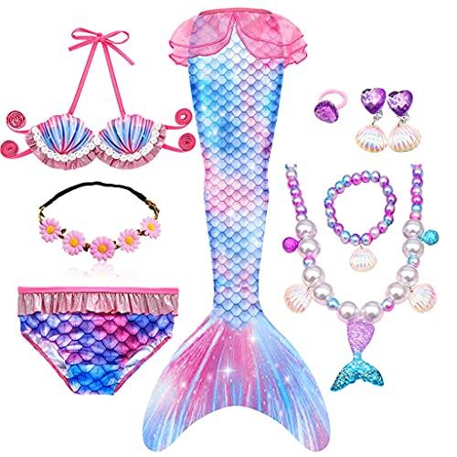 WPYYI Niños Sirena Colas natación Fiesta Cosplay Disfraces pequeña Sirena niñas Traje de baño Bikini Conjunto Traje de baño (Color : C, Size : 130 (7-8 Years))
