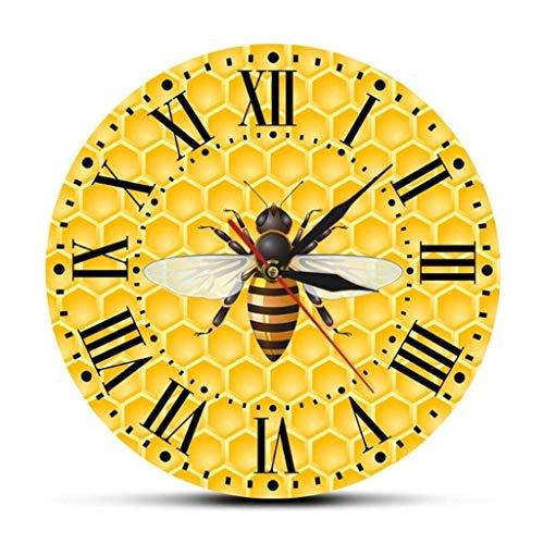 AISHANG Reloj de pared con diseño de abejas en miel y silencioso, silencioso, no hace tictac, para decoración del hogar, sala de estar, sin marco.