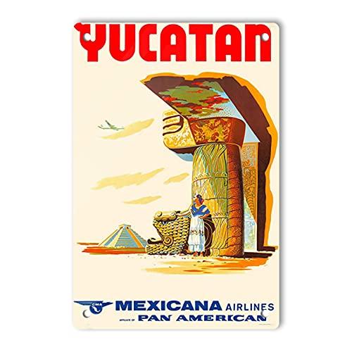 Oddss Retro Hallmark Yucatan - Mexicana Airlines - Pan American Blechschilds, Lightweight Aluminum Wall Decor Vintage Advertising Sign for Men Cave Coffee Bar Home Garage Movie Shop Garden 20x30cm