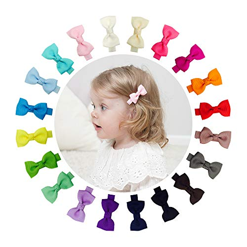 "Ruyaa Tiny 2"" Hair Bows Fully Lined Hair Clips for Baby Fine Hair Infants Toddlers"
