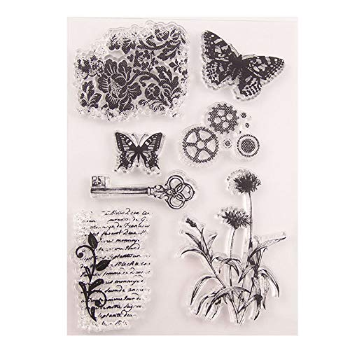 3.9 by 5.9 Inches Butterfly Flower Key Letters Stamps Letters Clear Rubber Stamps for Scrapbooking Card Making Christmas Stamps