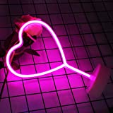 KAQ-Neon Heart Lights Neon Signs, Battery Operated & USB Powered LED Neon Light for Bedroom, Party, Home Decoration Lamp, Table & Wall Decoration Light Mothers Day Gift (Pink-Standing)