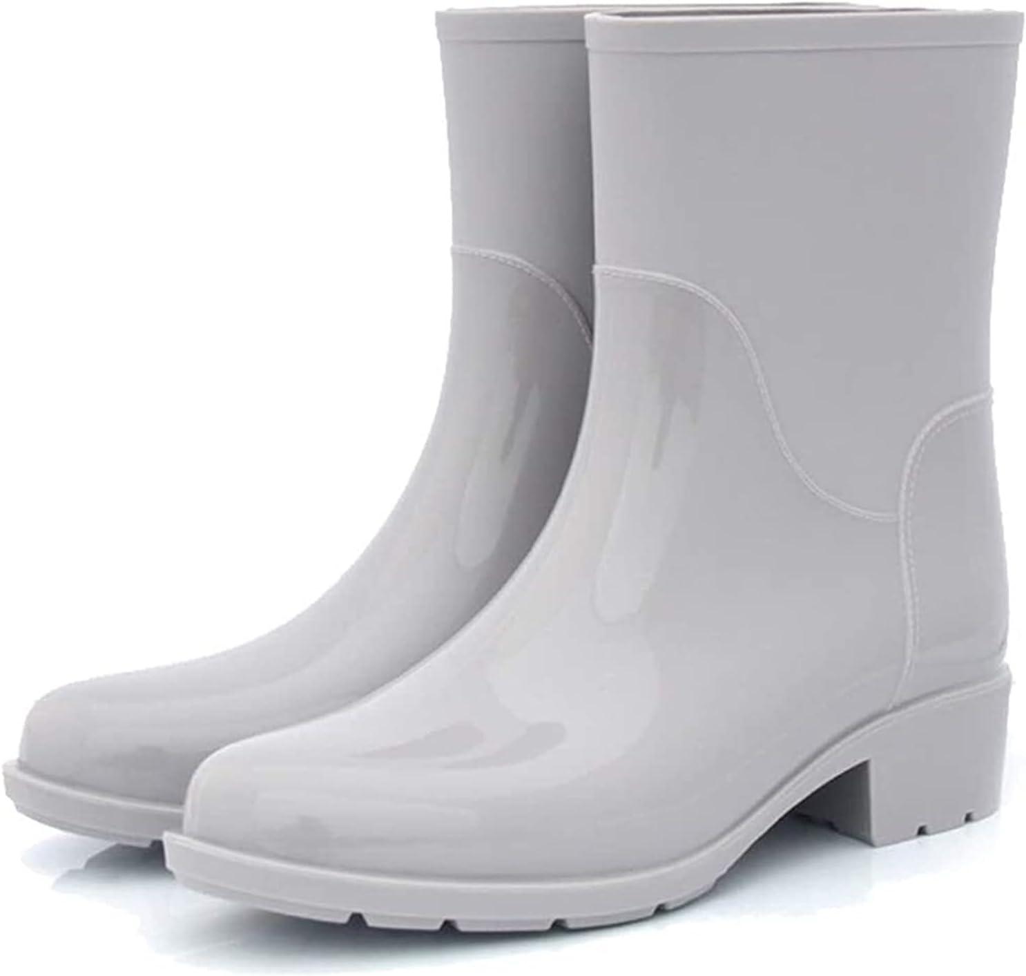 YIWANGO Stylish Lightweight Rain Boots Medium Tube Non-Slip Waterproof Boots Solid Color Ladies Garden Shoes rain Boots (Color : Gray, Size : 38 EU)