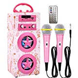 Kidsonor Kids Bluetooth Karaoke Machine with 2 Microphones, Wireless Remote Control Portable Karaoke Music MP3 Player Loudspeaker with Microphones for Kids Adults Home Party (Pink)