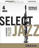Rico Anches sélectionnées Rico Jazz pour saxophone soprano, coupe à la française, force 4-Hard, pack de 10
