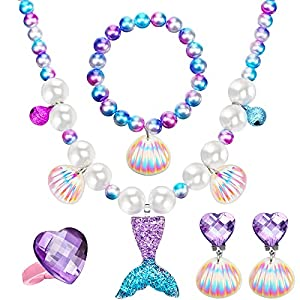 Mermaid Necklace Bracelet Set Mermaid Jewelry Kit, Included Shell Necklace Bracelet Ring Earrings Organza Bags for Christmas Birthday Party Jewelry Present for Girls (Purple)