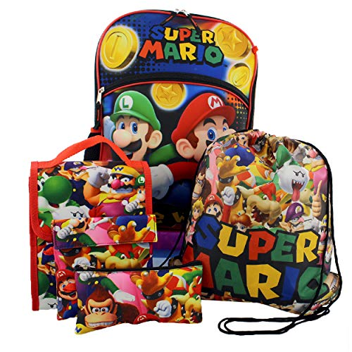 Super Mario Boys Girls 5 piece Backpack Lunch Bag and Snack Bag School Set (One Size, Multicolor)