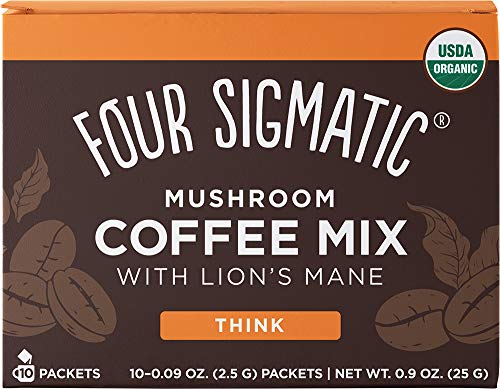 Four Sigmatic Mushroom Coffee, USDA Organic Coffee with Lion's Mane and Chaga mushrooms, Productivity, Vegan, Paleo, 10 Count, Packaging May Vary