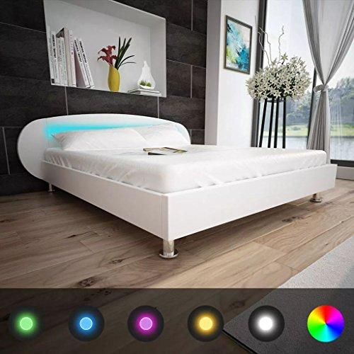 Tidyard Letto con LED in Pelle Artificiale,Letto Matrimoniale Moderno Bianca 180 x 200 cm