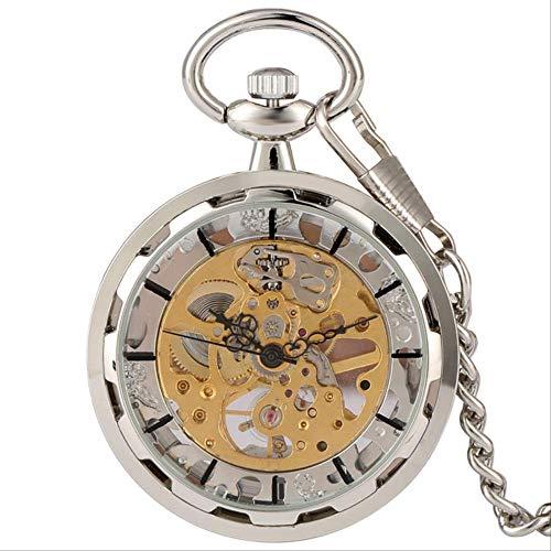 TaschenuhrAntique Mechanische Taschenuhr Hohl Silber Gold Handaufzugsuhr Steampunk 30cm Kettenanhänger Uhren SIL.