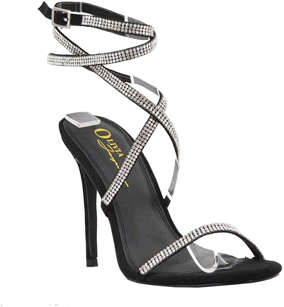 Women's Dress Strappy Sandals | Rhinestone Lace Up Embellished Ankle Wrap Ties | Stiletto Heel Shoes