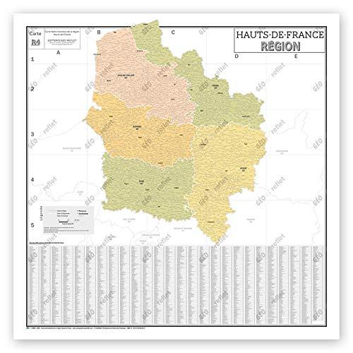 Mapa de Francia Murale – Mapa administrativo – Región Hauts-de-France – Modelo vintage – Póster plastificado de gran formato 120 x 120 cm